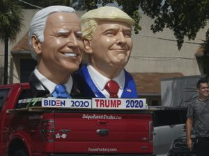 Foam sculpture depictions of President Donald Trump and Democratic presidential candidate former Vice President Joe Biden