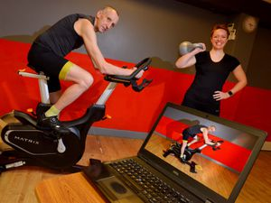 Instructor Paul Sabin and fitness co-ordinator Brogan Needham show off some of the classes people can take part in from the comfort of their own homes