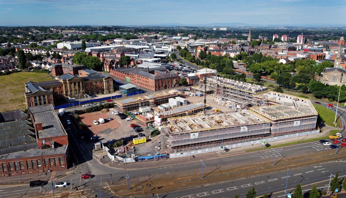 Work is continuing in front of the Royal Hospital