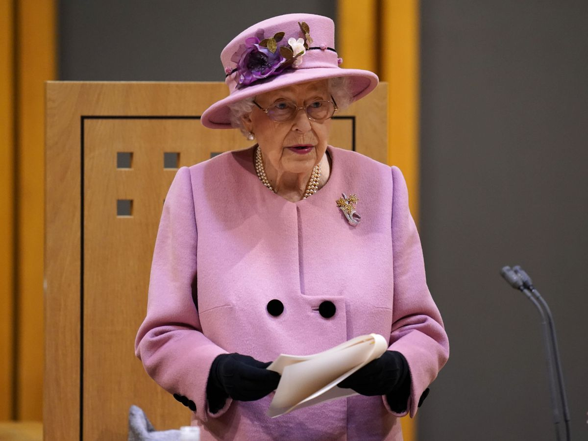 Queen Elizabeth II addresses the Senedd inside the Siambr (Chamber) during the ceremonial opening of the Sixth Senedd in Cardiff