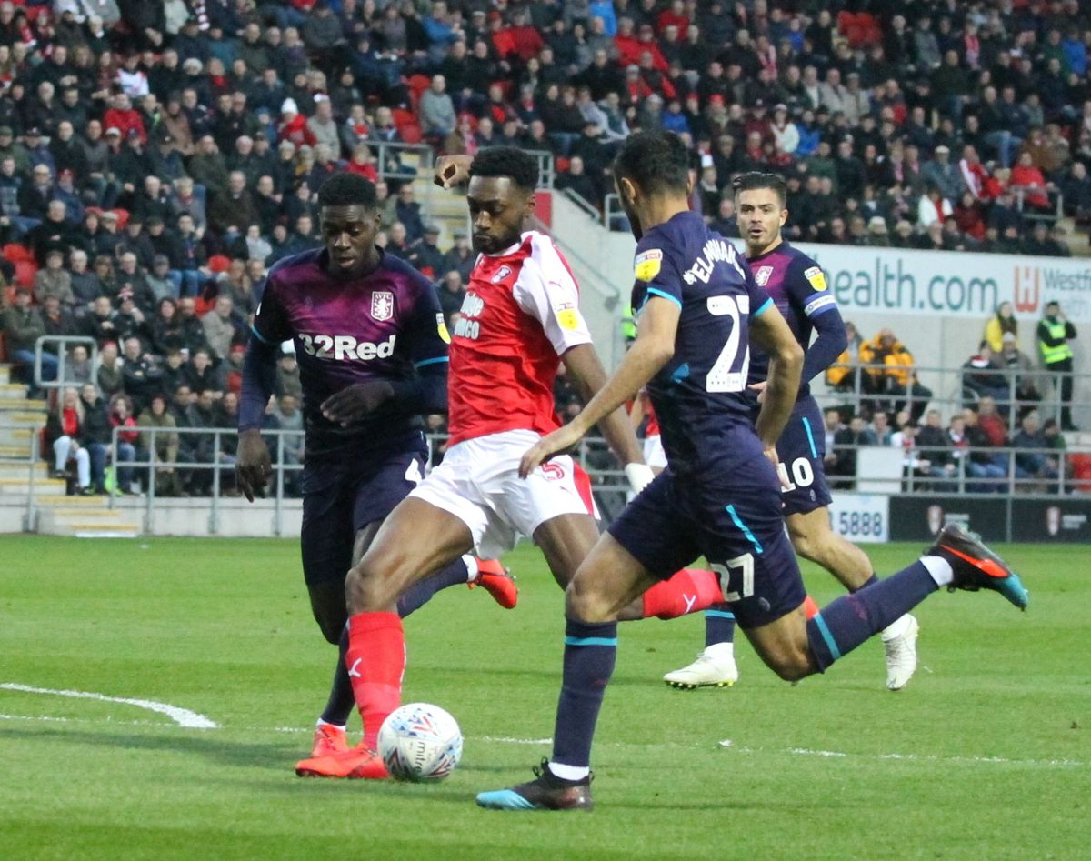 Semi Ajayi in action for Rotherham against Villa