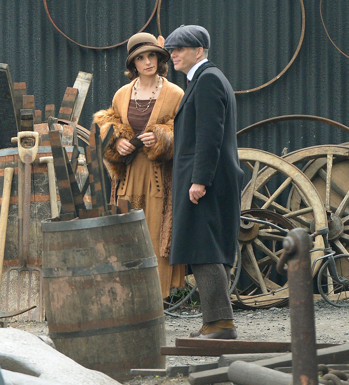 Cillian Murphy and Charlotte Riley on set at the Black Country Living Museum
