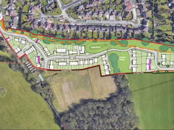 An illustration of the proposed housing development, as seen in planning documents submitted to South Staffordshire Council