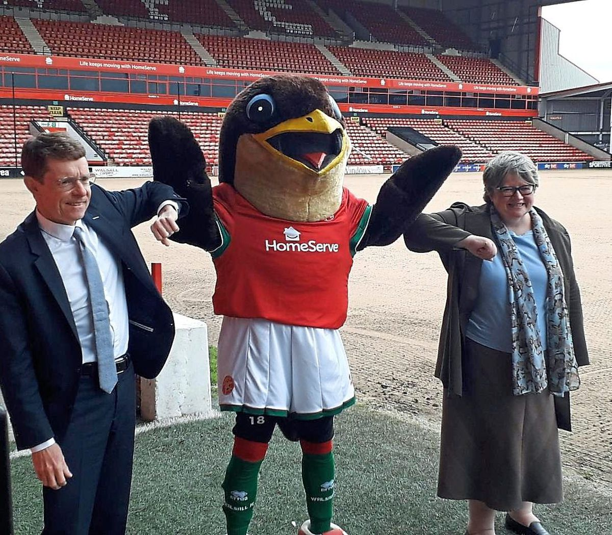 Mayor of the West Midlands Andy Street, Walsall FC mascot Swifty and Secretary of State for Work and Pensions Thérèse Coffey are pictured during a recent visit to see the Kickstart scheme in action at the club