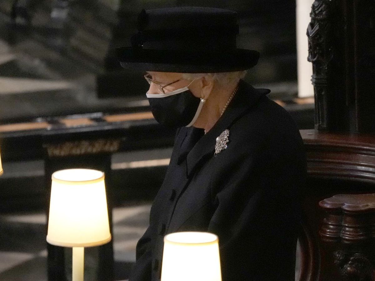 The Queen wore a statement brooch to the funeral of her husband of 73 years, the Duke of Edinburgh