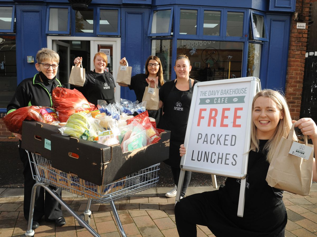 Free food parcels are given out at The Davy Bakehouse Cafe, Darlaston