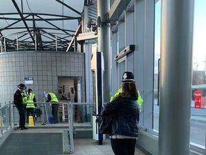 Officers were out and about at Wolverhampton Bus Station to remind commuters about masks. Photo: West Midlands Police