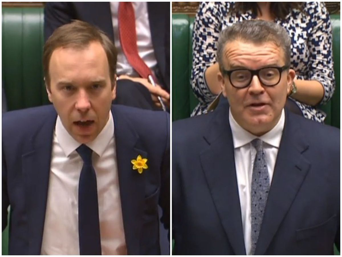 Left, Culture Sectary Matt Hancock, and right, Tom Watson, debate the decision in the House of Commons today