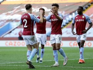 """Aston Villa's Ollie Watkins celebrates scoring their side's third goal of the game during the Premier League match at Villa Park, Birmingham. Picture date: Sunday April 4, 2021. PA Photo. See PA story SOCCER Villa. Photo credit should read: Richard Heathcote/PA Wire...RESTRICTIONS: EDITORIAL USE ONLY No use with unauthorised audio, video, data, fixture lists, club/league logos or """"live"""" services. Online in-match use limited to 120 images, no video emulation. No use in betting, games or single club/league/player publications.."""