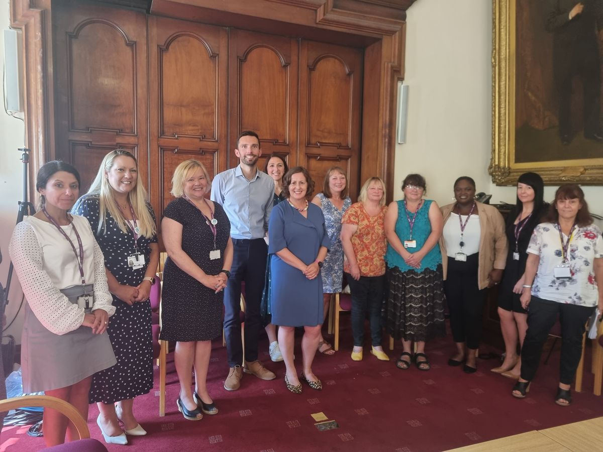 Josh MacAlister (centre) met with carers and staff from Walsall children's services and the charity Kinship at Walsall Council House