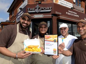The Portway Fish & Chips in Tipton who have won the E&S chip shop for Sandwell. Outside the chippy Manny Dhariwal, Dal Dhariwal, Jal Dhariwal and Jow Dhairwal