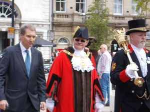 Councillor Peter Jones, Centre, Walks Through Stafford Town Centre After Being Elected Mayor In May 2015