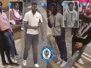 West Midlands Police are looking for these men following disorder and violence in Birmingham city's nightlife centre over the Bank Holiday weekend. Photo: West Midlands Police