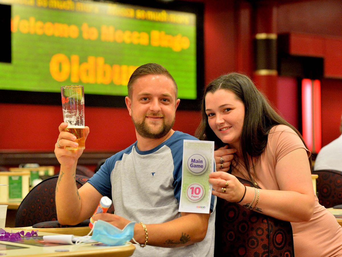 Matt Gadd 30 and Zeta Gadd 27 from Smethwick, celebrate their 10th anniversary at the bingo. Matt said it was his dad's idea to come down