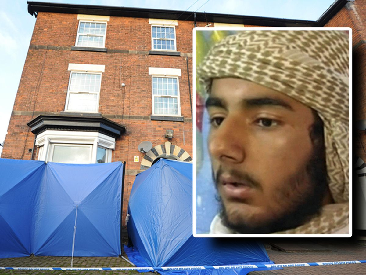 Usman Khan, inset, and the flat he lived in in Wolverhampton Road, Stafford