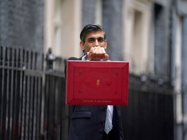 Chancellor Rishi Sunak holds his ministerial red box