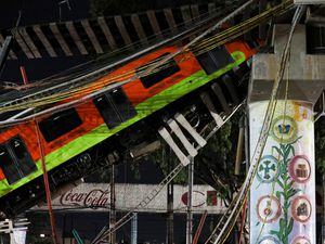 Collapsed metro carriage