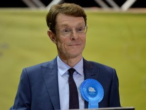 Andy Street smiles after being re-elected at the count at the Utilita Arena in Birmingham