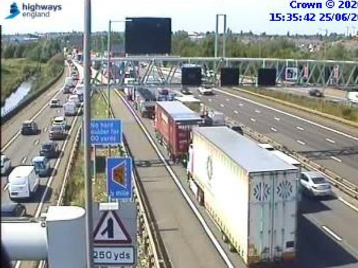 Traffic queueing on the M6. Photo: Highways England