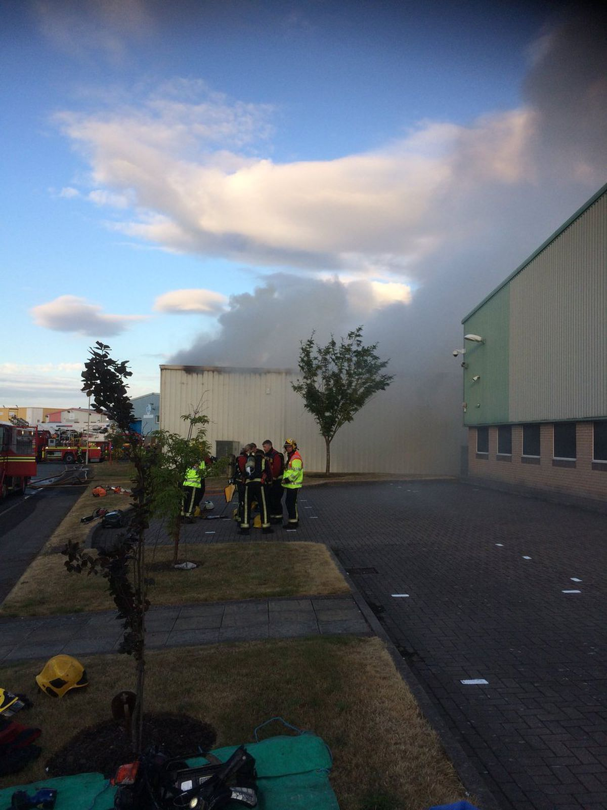 Smoke rising from the building. Picture: Woodgate Valley Fire Station