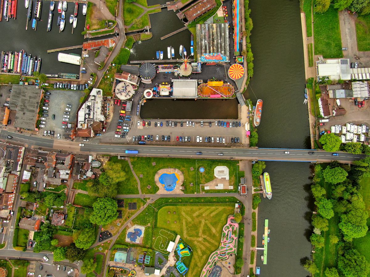 A drone shot taken over Stourport-on-Severn showing the canal and fairground by Paul Turner @tattoedbilly