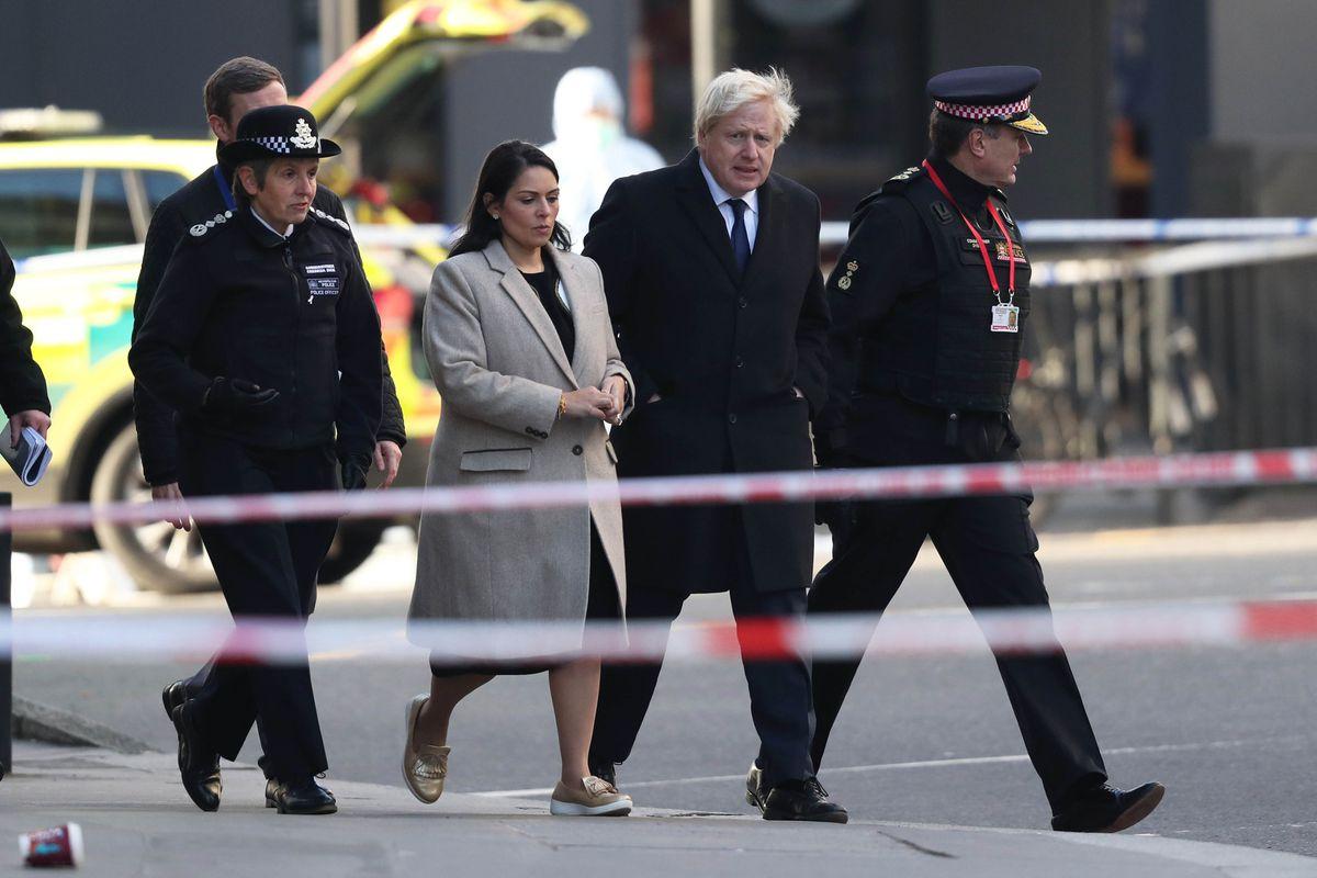 Metropolitan Police Commissioner, Cressida Dick (left), Home Secretary, Priti Patel, Prime Minister Boris Johnson and Commissioner of the City of London Police, Ian Dyson (right) attend the London Bridge crime scene