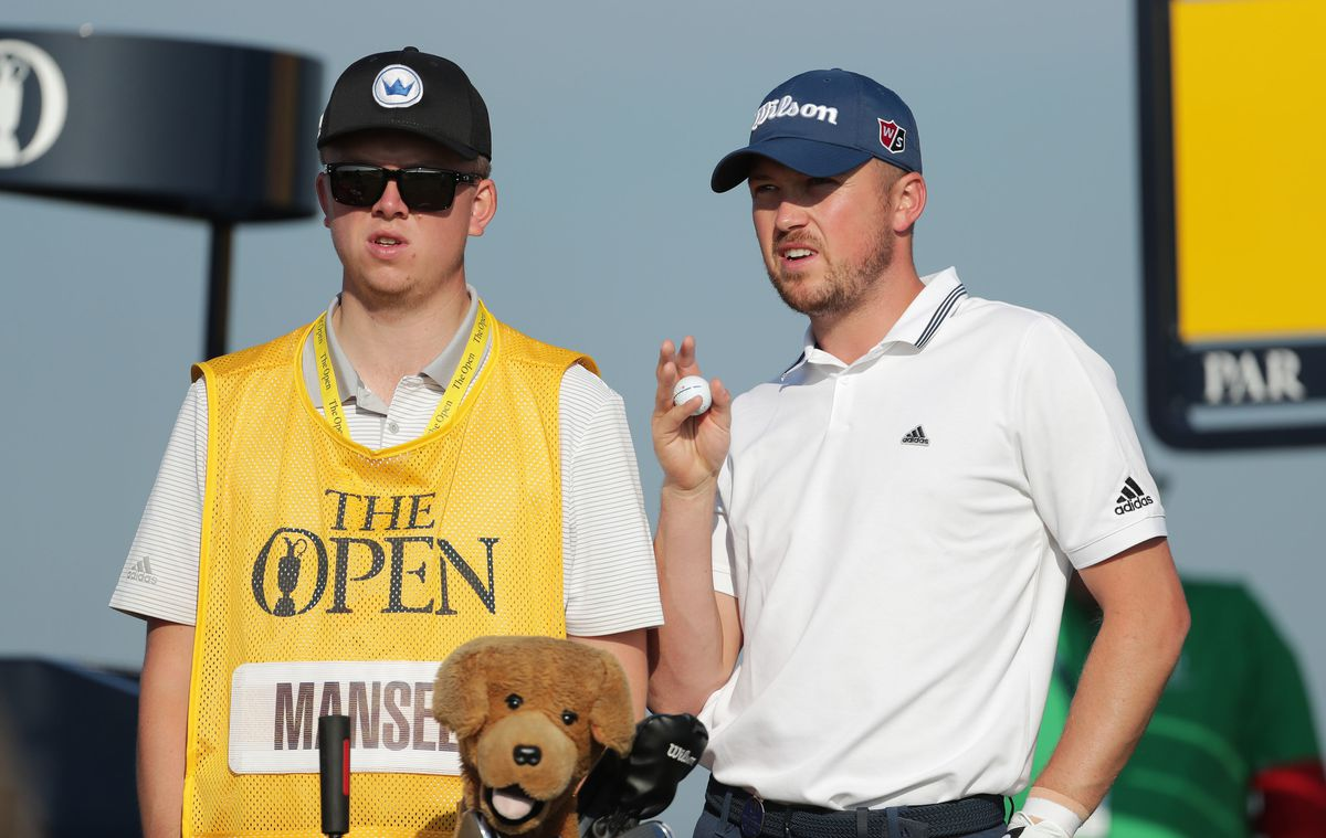 England's Richard Mansell with his caddie