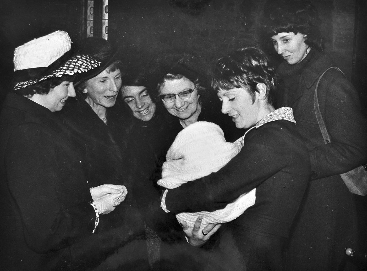 A Tredwell family christening in 1969, with Mrs Tredwell on the left.