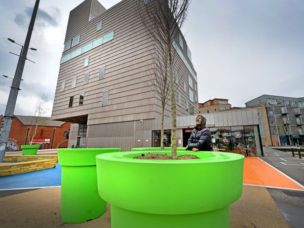 Giant green plant pots were installed in Walsall town centre this year