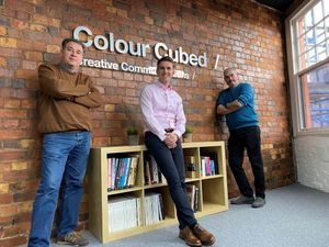 Directors Steve Moszynski (left) and Simon Greenfield (right) of Colour Cubed Creative Communications, with Ed Siddall-Jones (centre)
