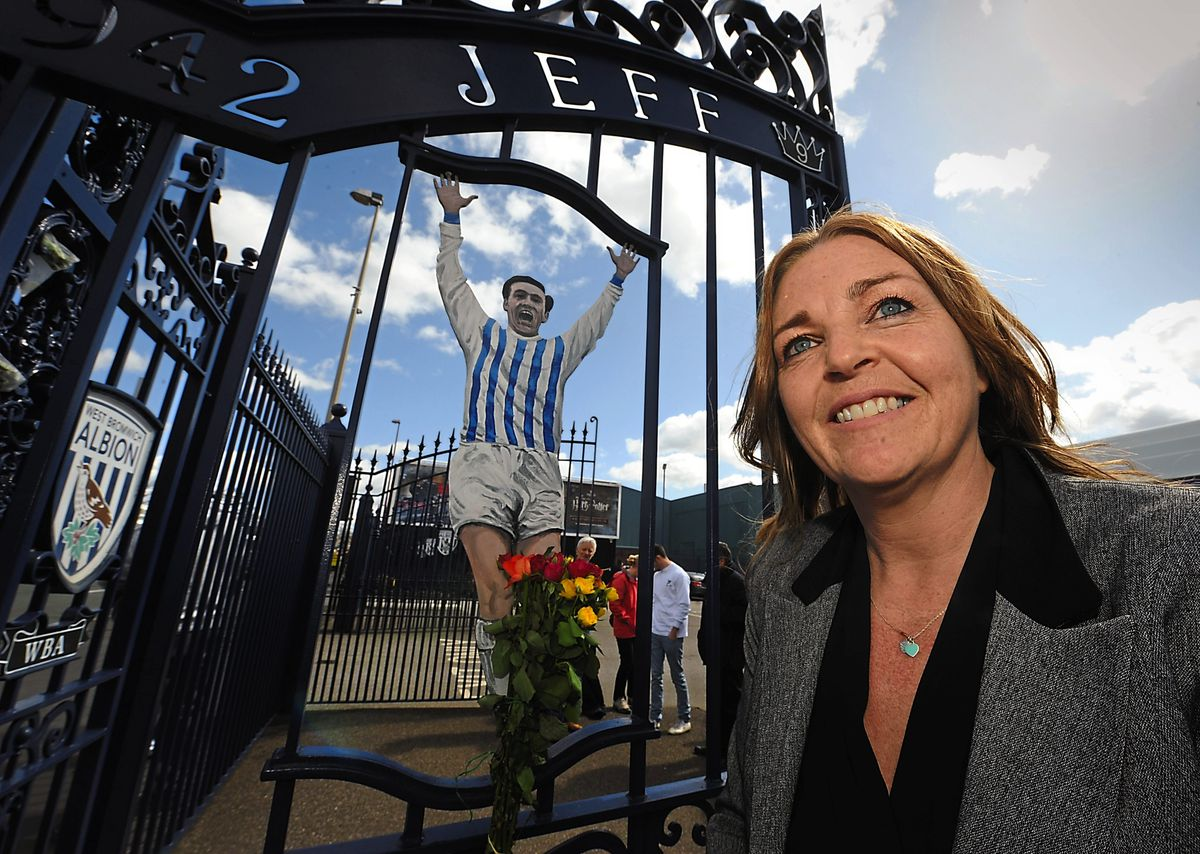 Jeff Astle's daughter Dawn, at the gatesnamed in her father's honour at The Hawthorns, has led the campaignto highlight the dangers posedto footballers from heading a ball