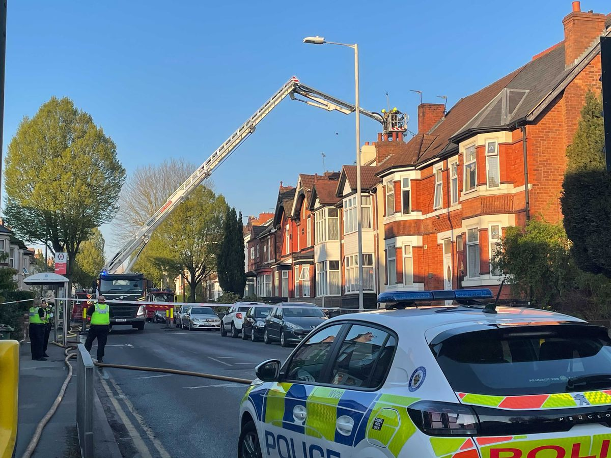 Emergency services at the scene on Lea Road