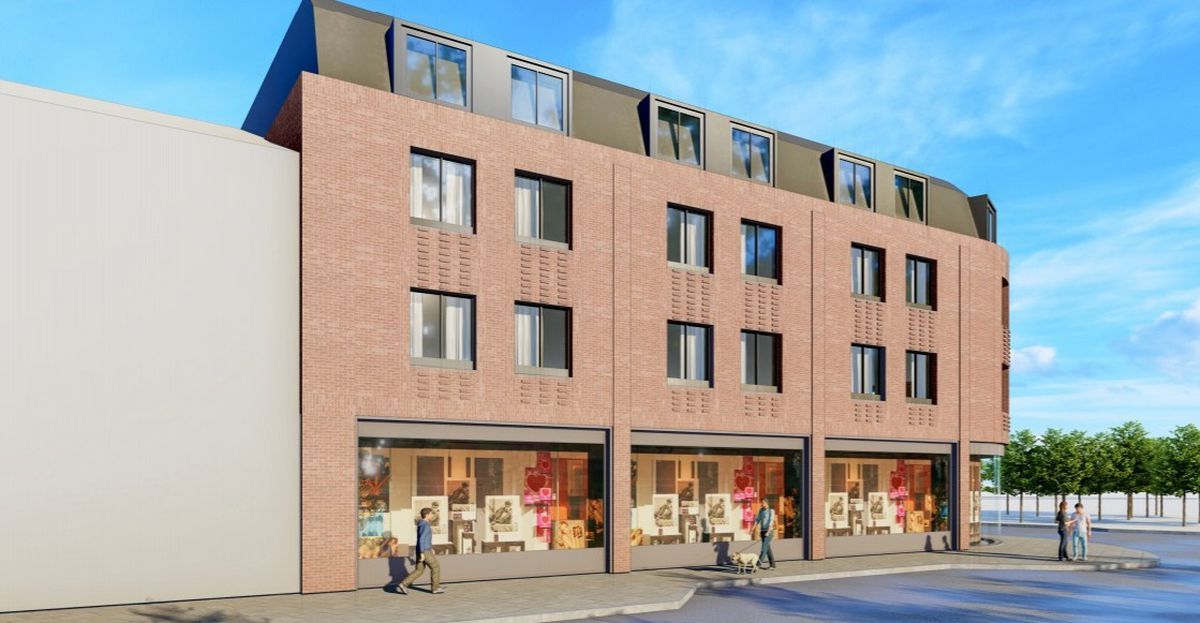An artist's impression of the planned student apartments and retail unit on vacant land on Victoria Street, Wolverhampton. Image: Corstorphine & Wright.