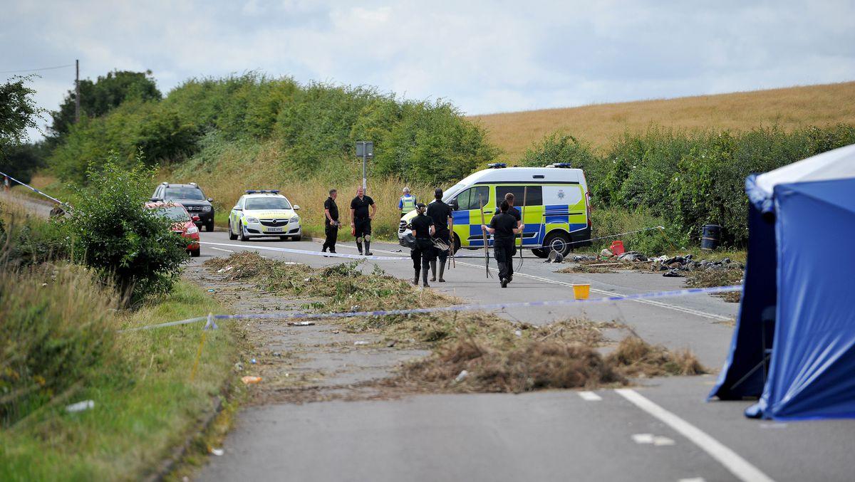 Police at the scene on Bridgnorth Road where Ms Jerrare was found