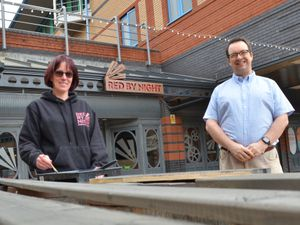 Mike Wood MP, right, with Vicki Wilkes, owner of Red By Night