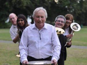 Rob Harper, Nita Leyshon, Tim Bickley, Rev Sarah Bigham with Helen Winfield of Great Barr Brass