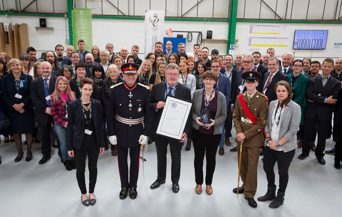 Front, from left,  Woolcool's Jessica Morris, finance director; Mr Ian Dudson, Lord Lieutenant; Keith Spilsbury, strategic director; Angela Morris, chief executive and Josie Morris, managing director
