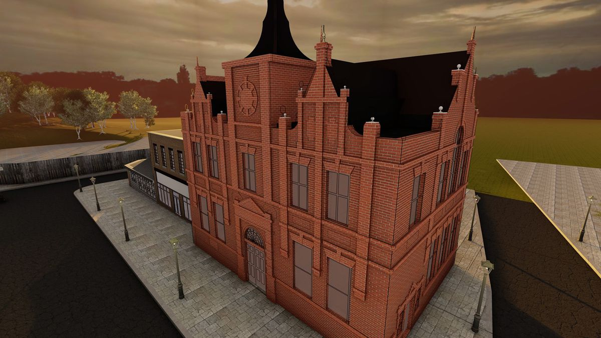 A computer image of the how the library will look when rebuilt at the museum
