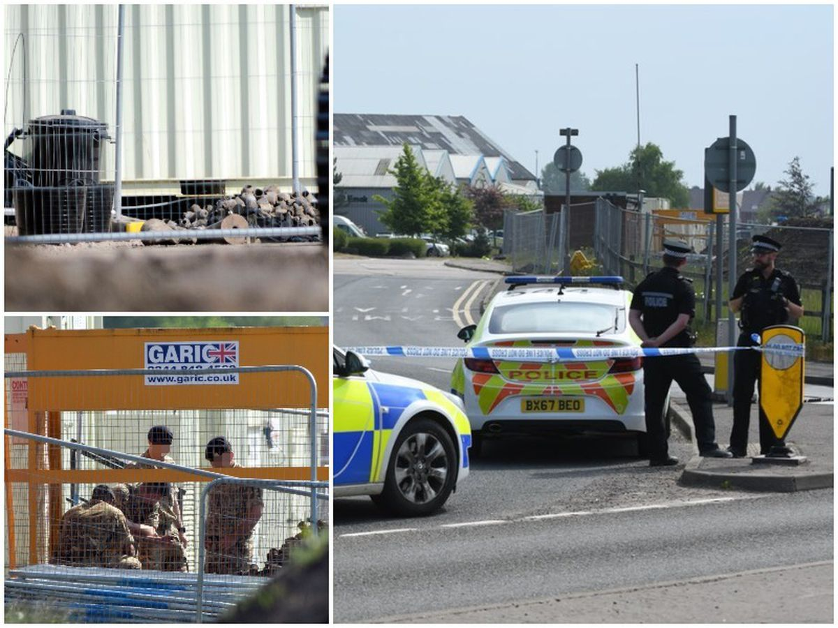 he mortars found and bomb disposal experts at the scene which has been cordoned off by police. Pictures: @snapersk