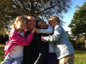 Nick Driscoll with children Erin, Millie and Niall