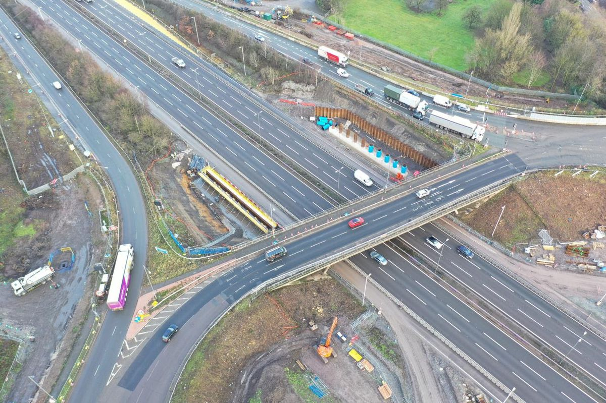 Work can be seen to the left of the existing bridge on the abutments for the new, wider bridge at Junction 10