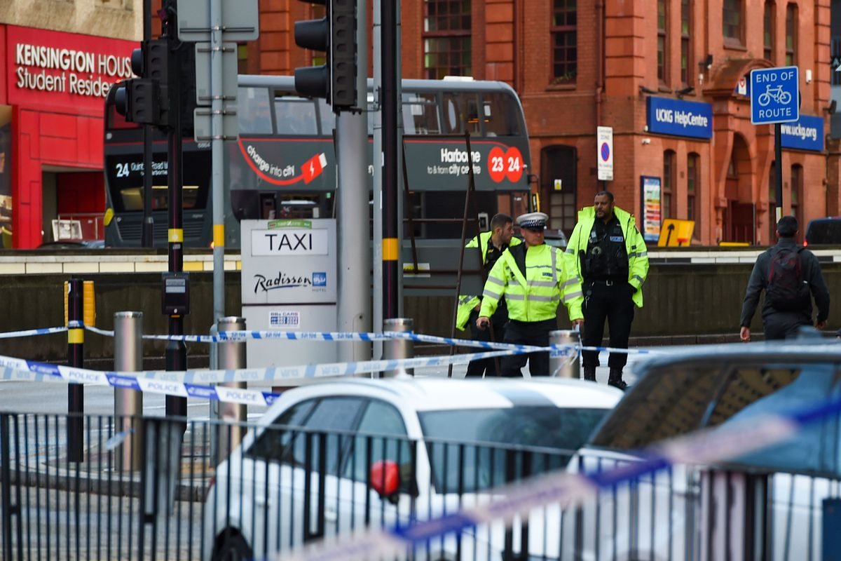 Police at the scene in Birmingham city centre. Photo: SnapperSK