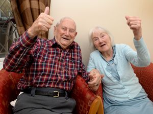 Frank Line, aged 91 and Beryl Hunt, 85, who reside at The Firs Care Home in Sedgley, both celebrate the vaccination's arrival