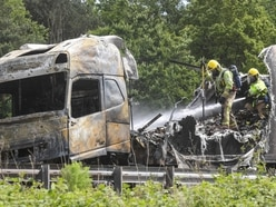 Drivers escape as lorry and car destroyed in M6 fire