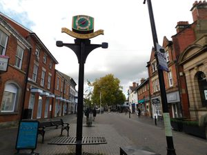 Stone High Street and Joules Clock.