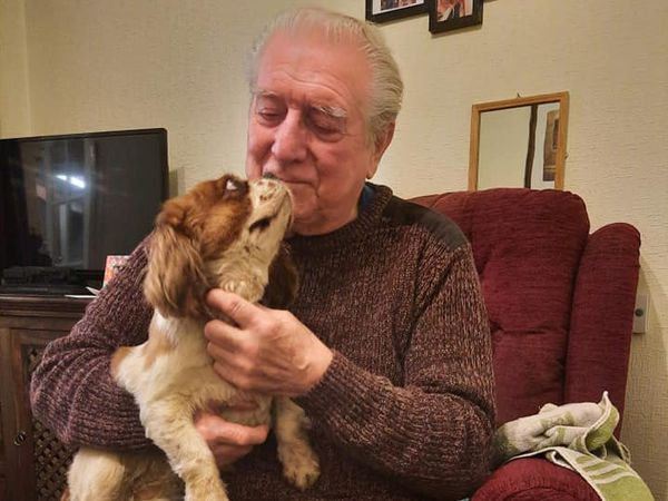 Alan Chamberlain reunited with Penny, who was missing for three weeks. Photo: Stacey Bushell