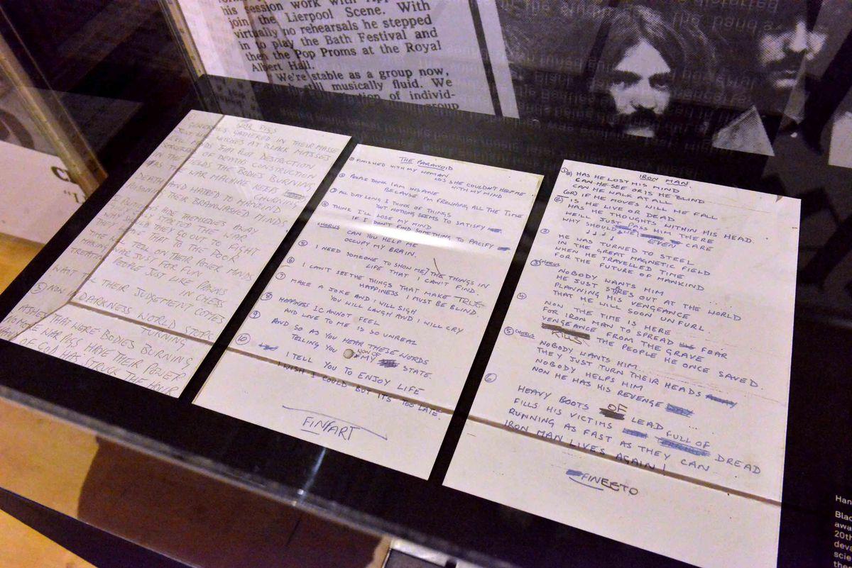 Hand written lyrics provided by the band