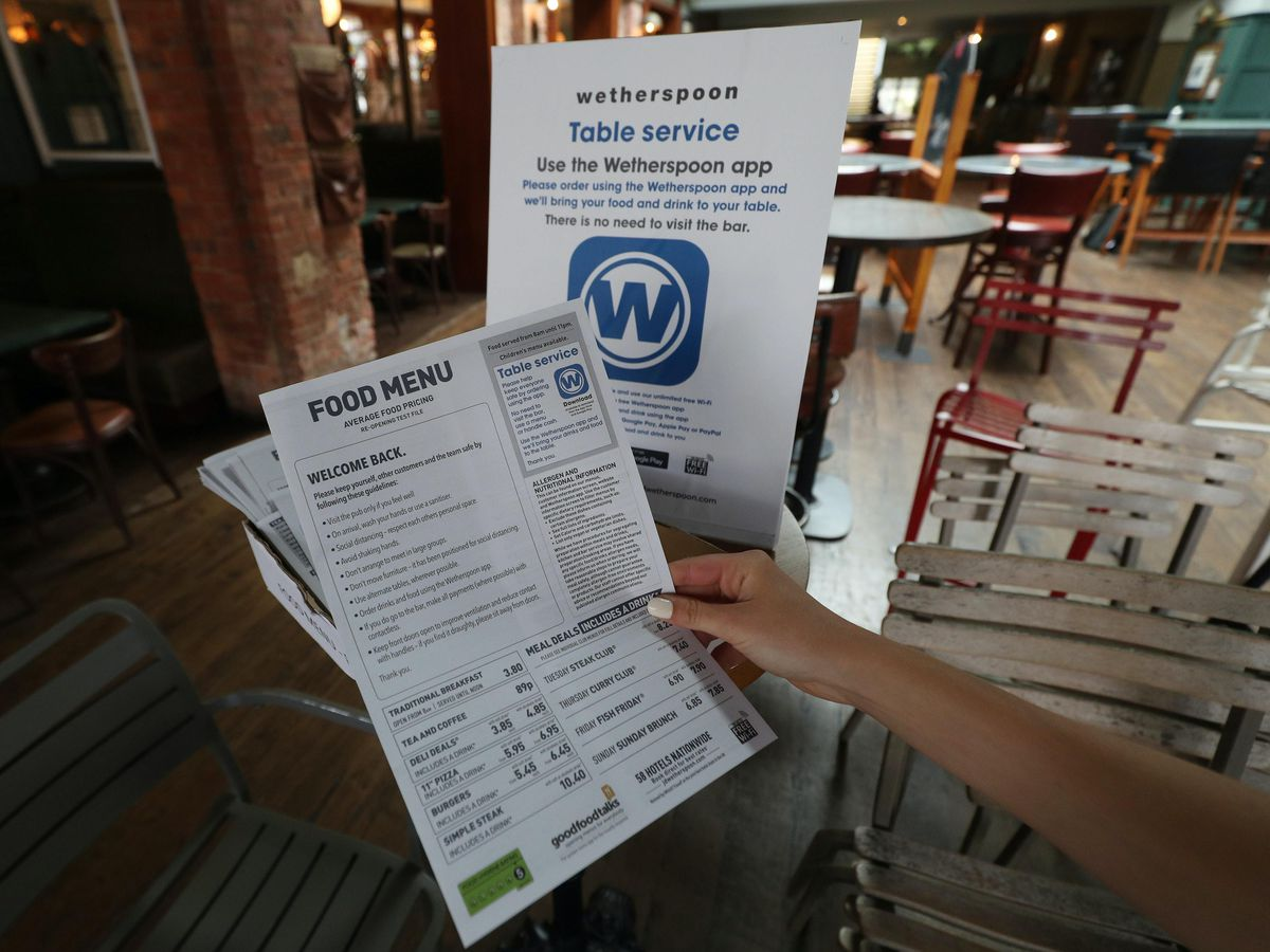 A Wetherspoons disposable menu