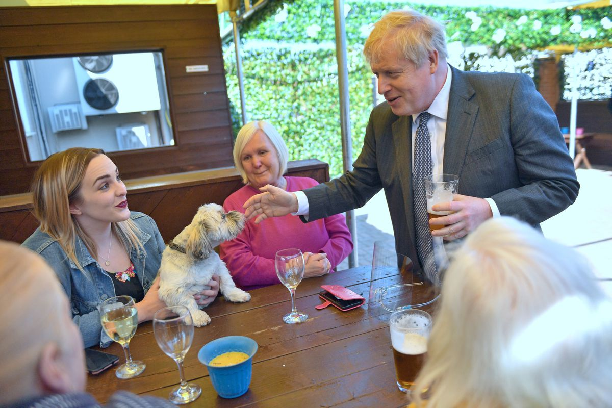 Meeting customers in the beer garden during a visit to The Mount pub and restaurant in Wolverhampton