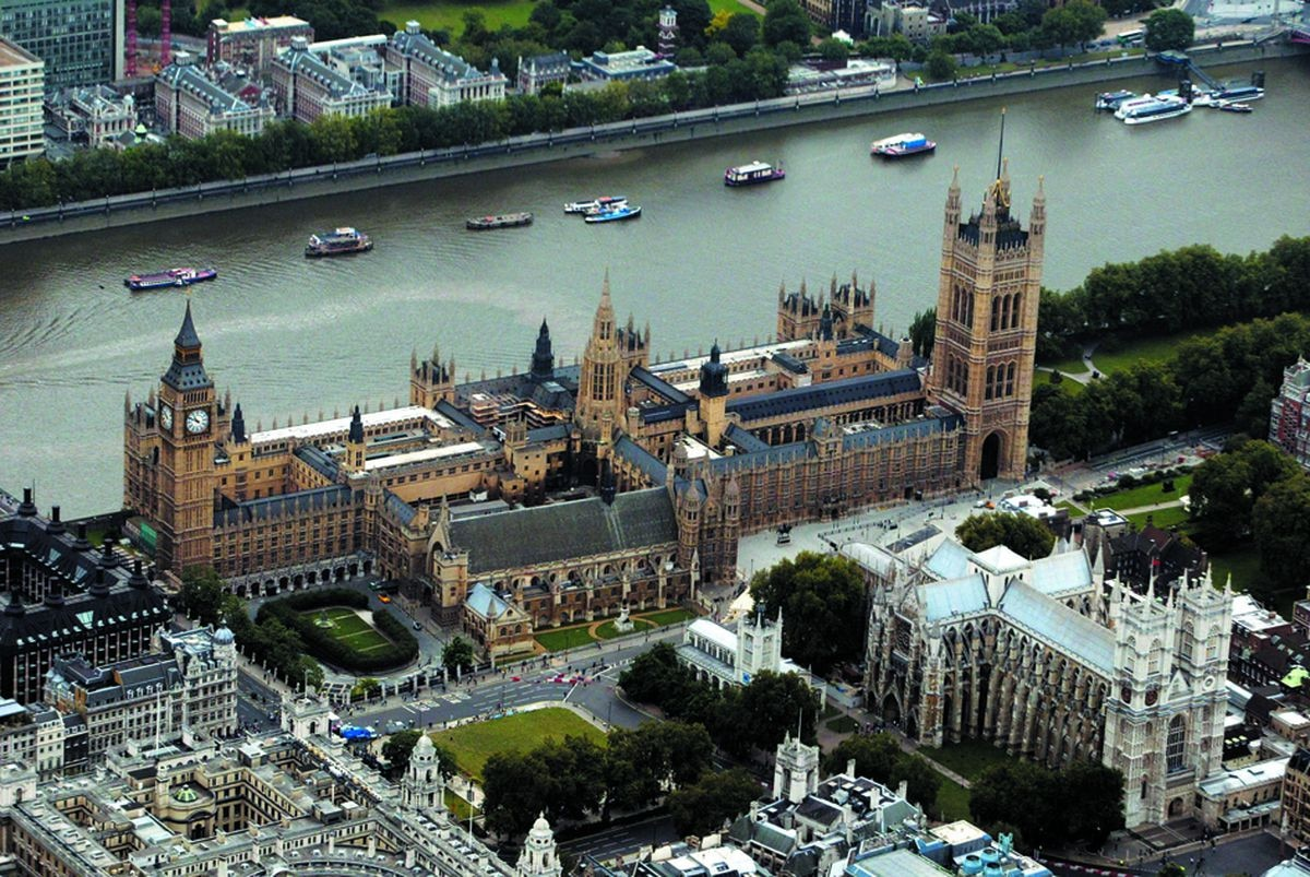 An aerial view of the Houses of Parliament